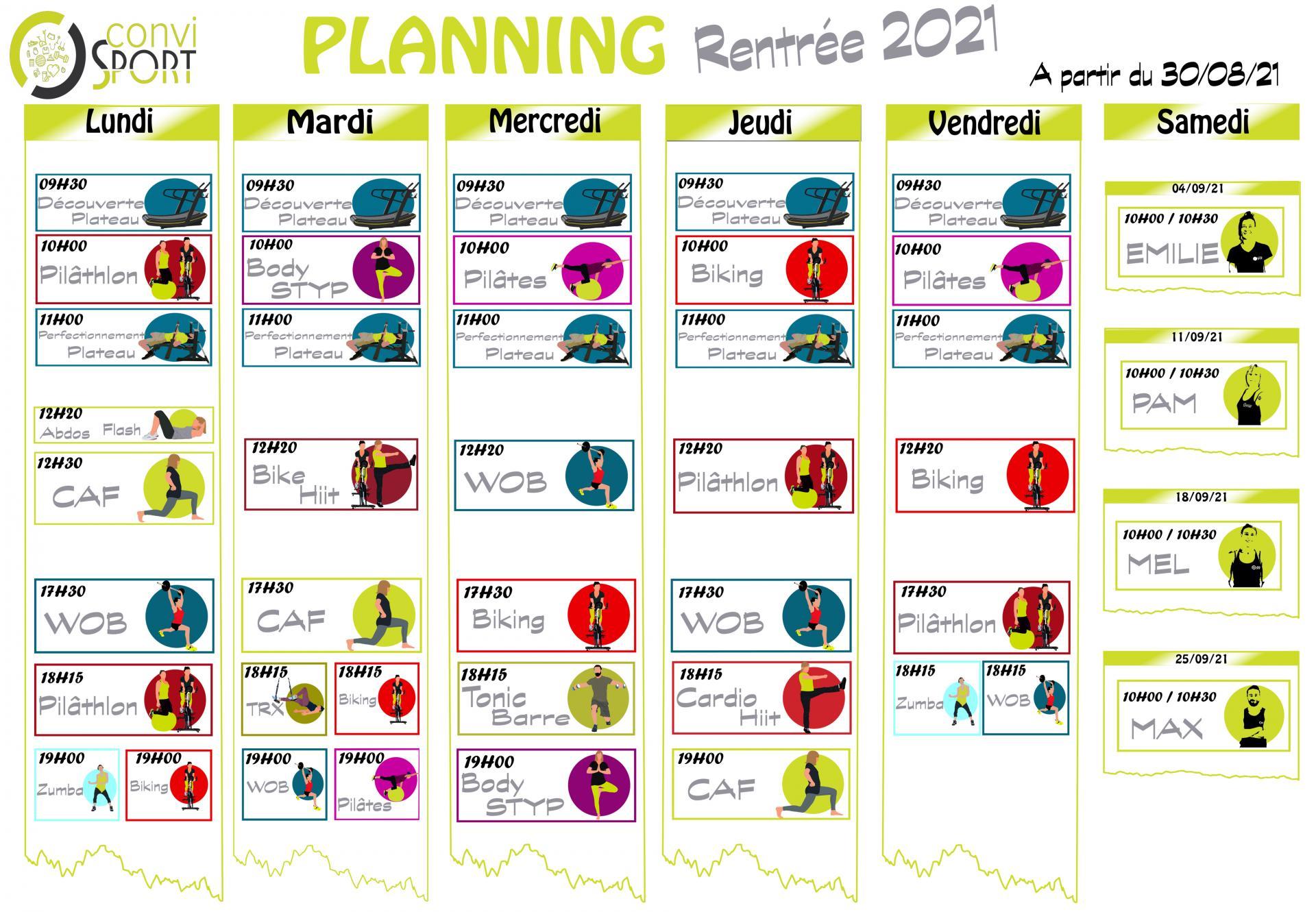 Planning rentree 2021