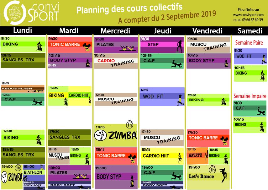 Planning septembre 2019